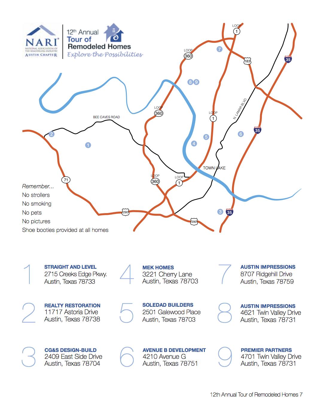 2014AustinNARITourMap
